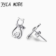 hot deal buy hot sale 925 sterling silver hollow heart cat earrings animal stud earrings fine 925 pure silver jewelry brincos for women