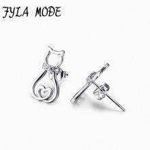 Hot Sale 925 Sterling Silver Hollow Heart Cat Earrings Animal Stud Earrings Fine 925 Pure Silver Jewelry Brincos For Women