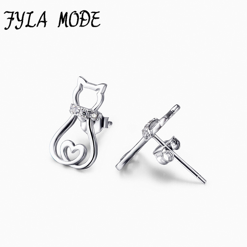 Hot Sale 925 Sterling Silver Hollow Heart Cat Earrings Animal Stud Earrings Fine 925 Pure Silver Jewelry Brincos For Women
