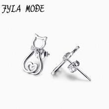 Hot Sale 925 Sterling Silver Hollow Heart Cat Earrings Animal Stud Earrings Fine 925 Pure Silver Jewelry Brincos For Women 925 pure silver christmas bells silver pendants