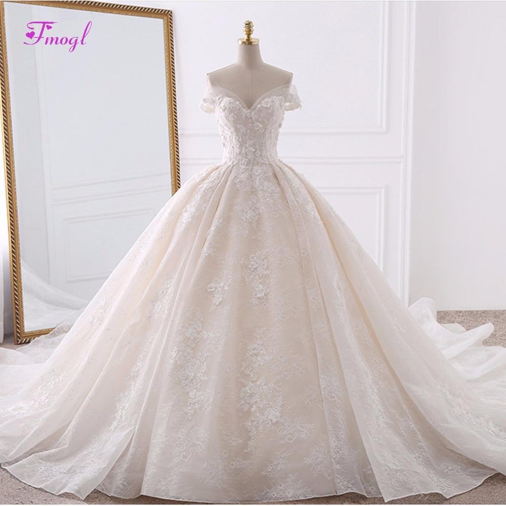 Robe de Noiva Appliques Dentelle Fleurs Princesse Robes De Mariée 2018 Chérie Cou Perles Train Royal robe de Bal Robe De Mariée