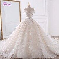 Vestido de Noiva аппликации кружево цветы свадебное платье принцессы 2019 Милая средства ухода за кожей Шеи жемчуг Королевский поезд бальное