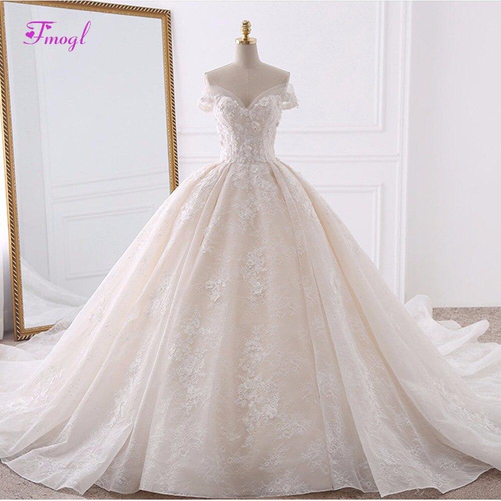 Vestido de Noiva аппликации кружевные цветы свадебное платье принцессы 2018 Милая шеи жемчуг царский поезд бальное платье Свадебное платье