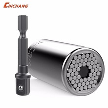 Universal Socket Wrench Tools Paissite 7mm to 19mm Universal Socket Set with Adapter for Power Drill