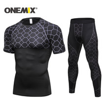 ONEMIX New Quick Fitness Tights Running Set Mens Sports Suits Short Sleeve T-Shirt Sportwear Comprehensive training suit Men(China)