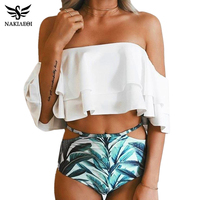 NAKIAEOI High Waist Swimsuit 2017 New Ruffle Vintage Bikinis Swimwear Women Bandeau Solid Top Print Bottom