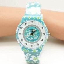New Fashion child Waterproof flower Design Analog lady women WristWatch Children Clock kid