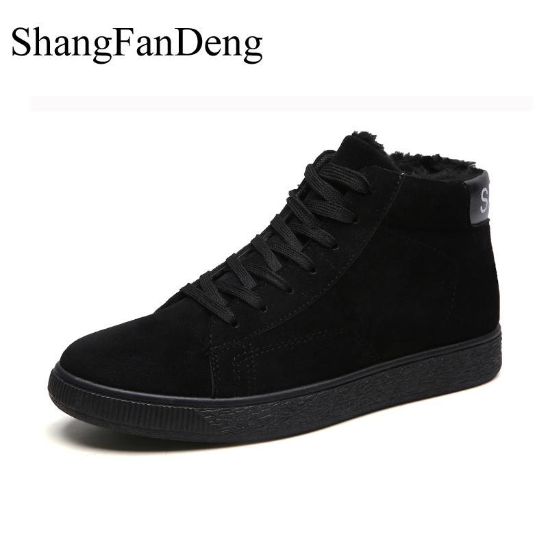 2018 New Men Boots Winter Fashion Warm Plush Casual Shoes Unisex Sneakers Fur Snow Boots Rubber Outsole Safety High Men Shoes