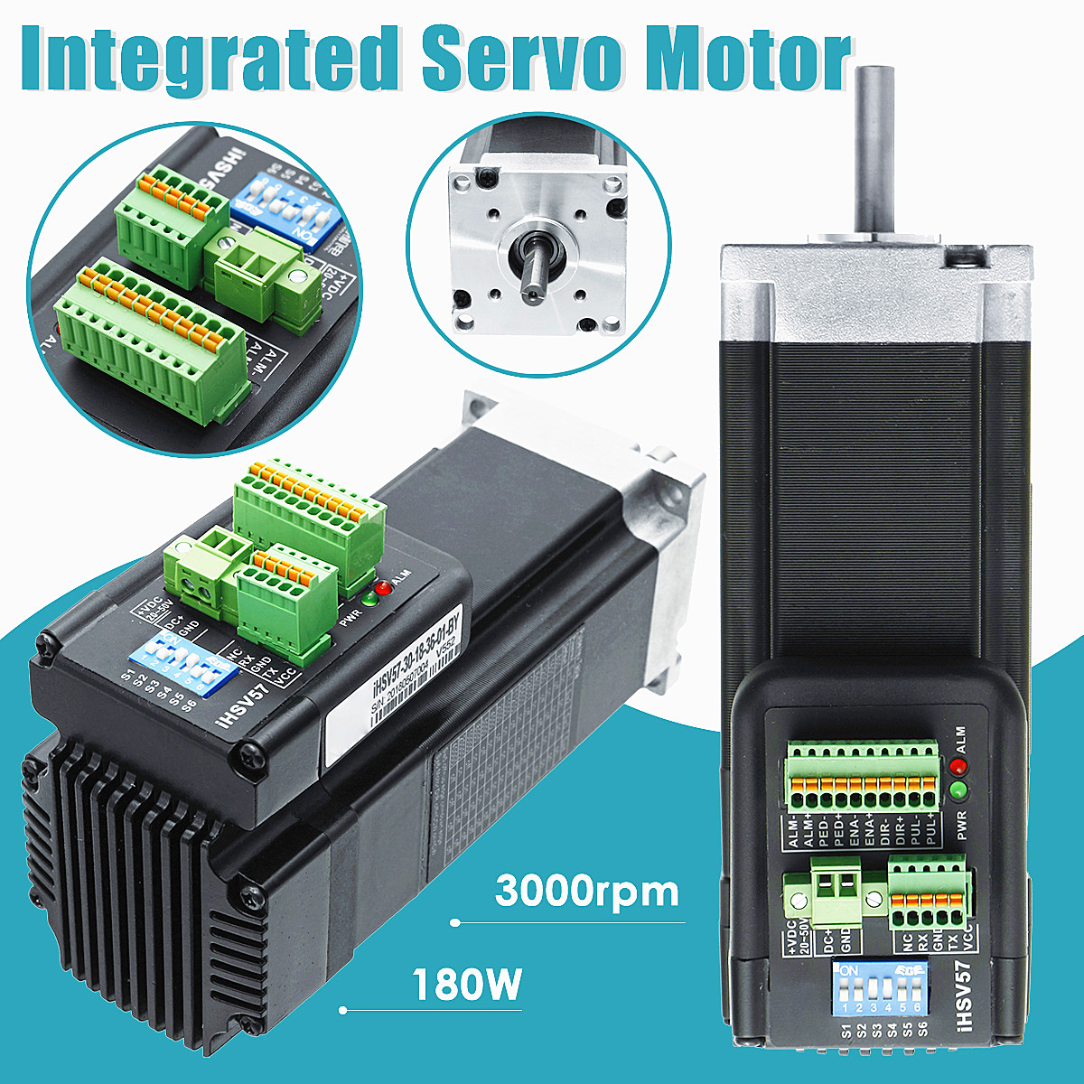 180W 3000rpm 57 Integrated Servo Motor DC36V iHSV57-30-18-36