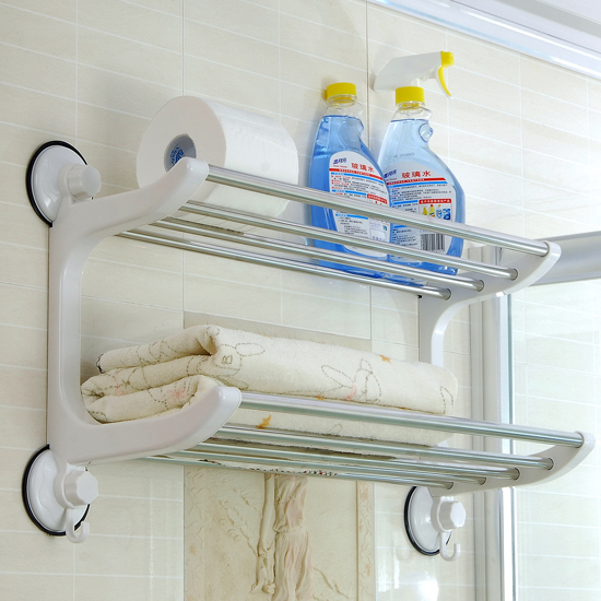 freeshipping  60cm double layer bath towel rack stainless steel bathroom rack towel rack suction cup shelf power engineering ebook collection