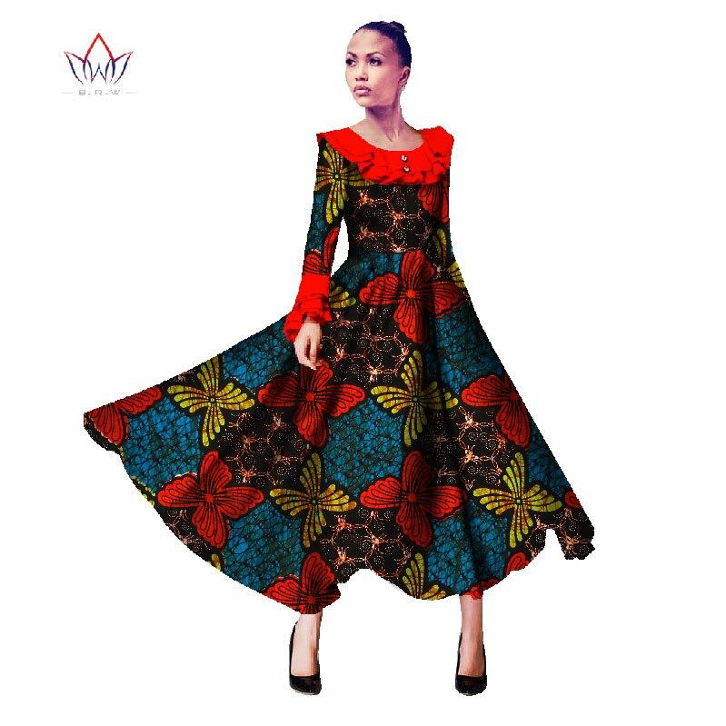BRW Robe africaine pour femmes eté manches longues Vintage Maxi Robe Dashiki Bazin Riche Robe longue Femme grande taille WY934