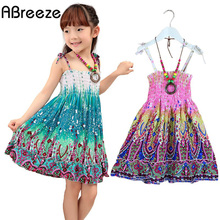 2017 New 2-7T girls dresses summer bohemian style dress for girls Fashion Knee-length girls beach dresses sundress with necklace