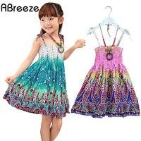 2 10 Age 2015 New Summer Girls Dresses Fashion Knee Length Beach Dresses For Girls Sleeveless