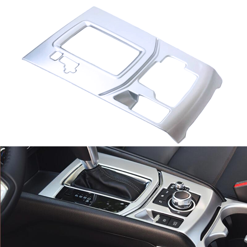 ABS Carbon Style Decoration Gear Shift Box Panel Cover Trim Car Styling Accessories For Mazda CX-5 CX5 2nd Gen 2017 2018 for mazda cx 5 cx5 2017 2018 kf 2nd gen car co pilot copilot stroage glove box handle frame cover stickers car styling