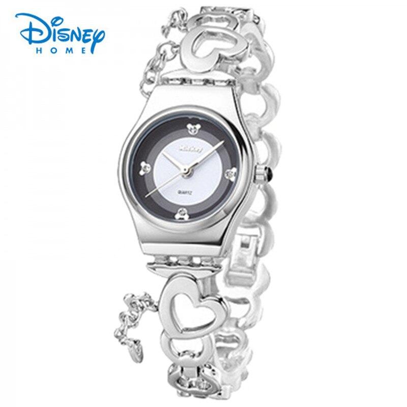 100% Genuine Disney Ladies Watch Luxury Sliver Bracelet Watches Strap Women Dress Watch women Relogio Feminino