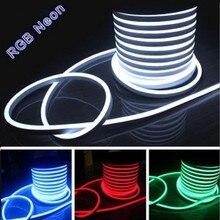 hot deal buy 100m/lot flex led neon light 80leds/m ac110v 220v 240v flexible led neon flex rope bar light rgb soft tube lamp outdoor lighting