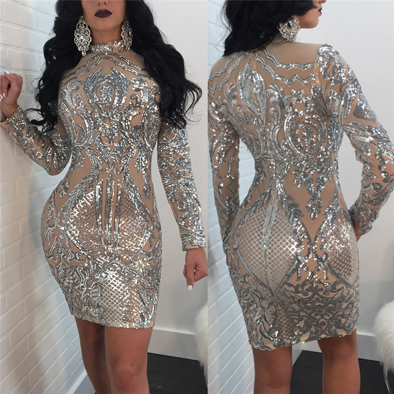 Long Sleeve Women Sequin Dress Autumn Winter Silver Sparkly Bodycon Dress  Elegant Sexy Night Club Celebrity Glitter Party Dress 6d5268308977