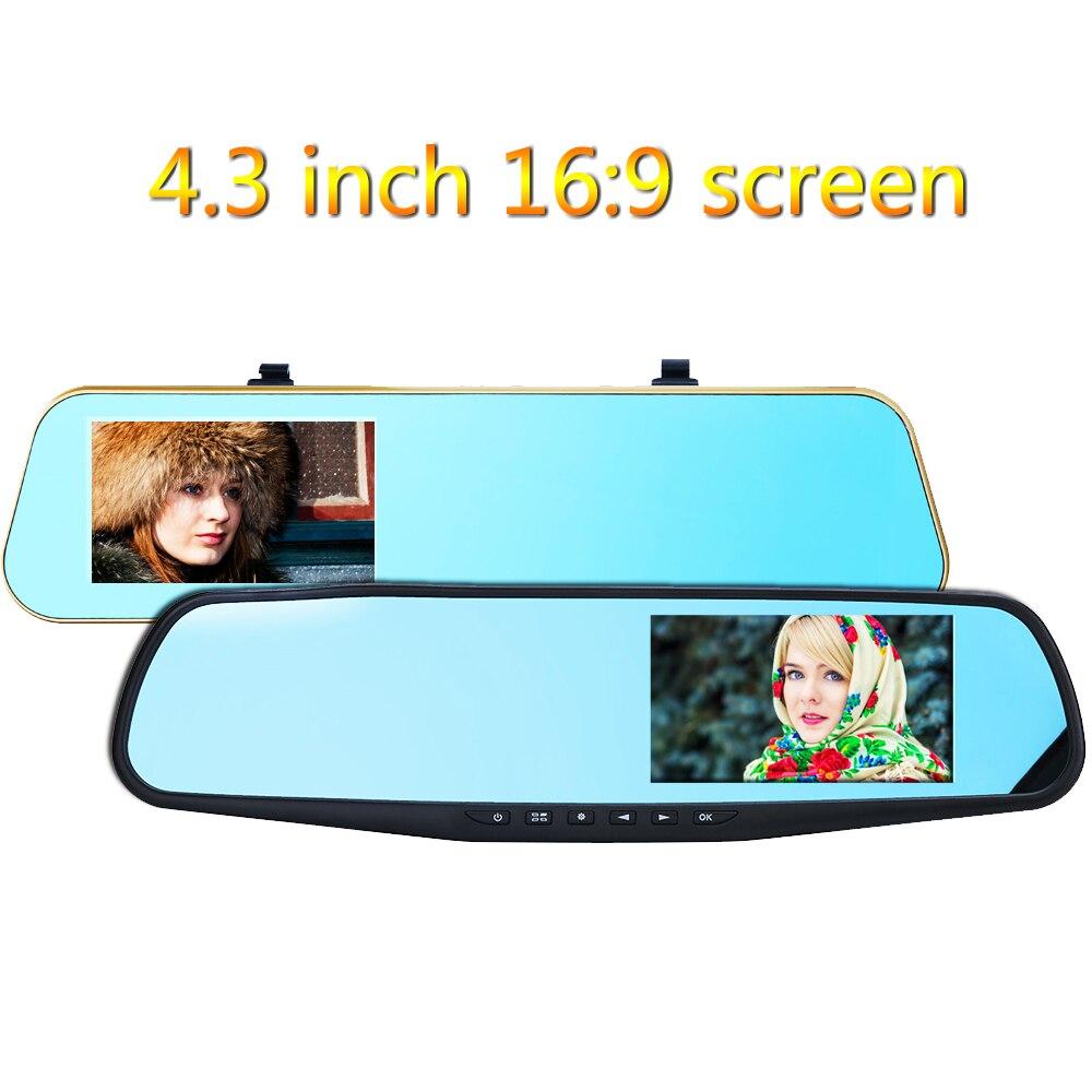 Car Electronics 4.3 Inch 1080x720p Car Dvr 5.0m Dual Lens Rearview Mirror Video Recorder Dash Cam Parking Monitor G Sensor Night Vision H41/h42