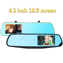 4.3 Inch 1080x720P Car DVR 5.0M Dual Lens Rearview Mirror Video Recorder Dash Cam Parking Monitor G sensor Night Vision H41/H42(China)