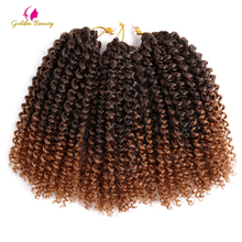 hot deal buy golden beauty 3pcs/pack 8inch kinky curly ombre color synthetic crochet twist braids hair extensions