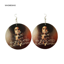Brown Wood Round Africa Calm Down Love Black Women Tribal Earrings Retro Wooden African Hiphop Jewelry Party Club Accessories