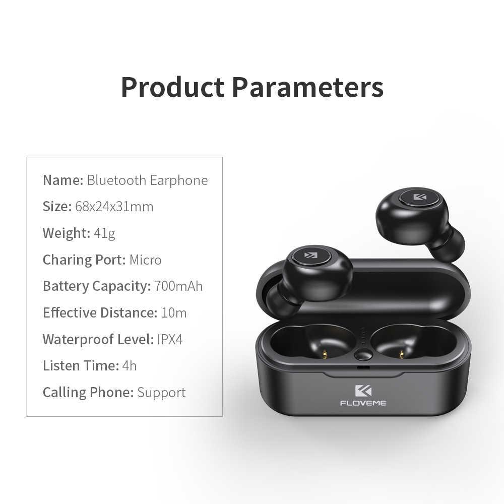 FLOVEME słuchawki na telefon TWS 5.0 miniaturowe słuchawki z bluetooth słuchawki zestaw słuchawkowy 3D dźwięk radia słuchawki douszne podwójny mikrofon
