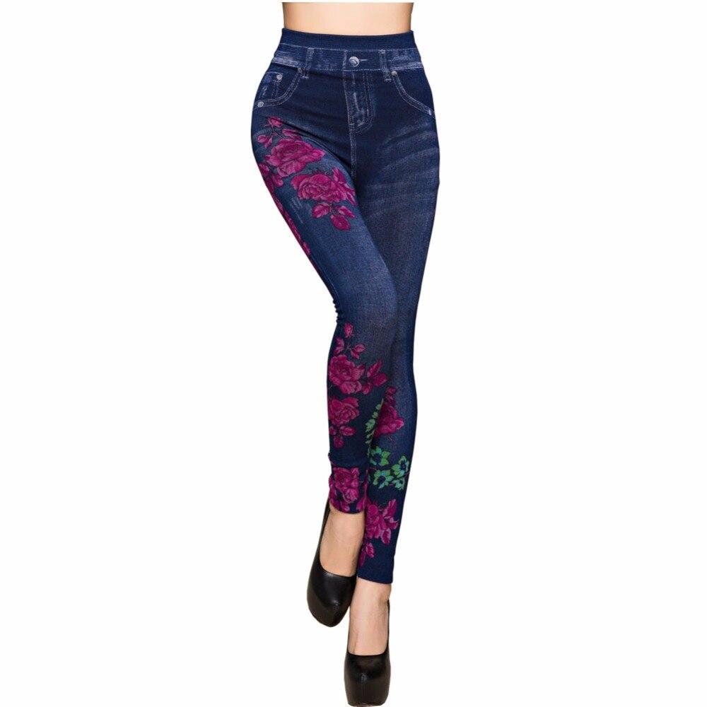 Fashion Slim Wanita Musim Semi Musim Panas Musim Legging Faux Denim Jeans Legging Panjang Bunga Percetakan Kasual Pensil Celana Tipis Bulu Dalam Legging Aliexpress