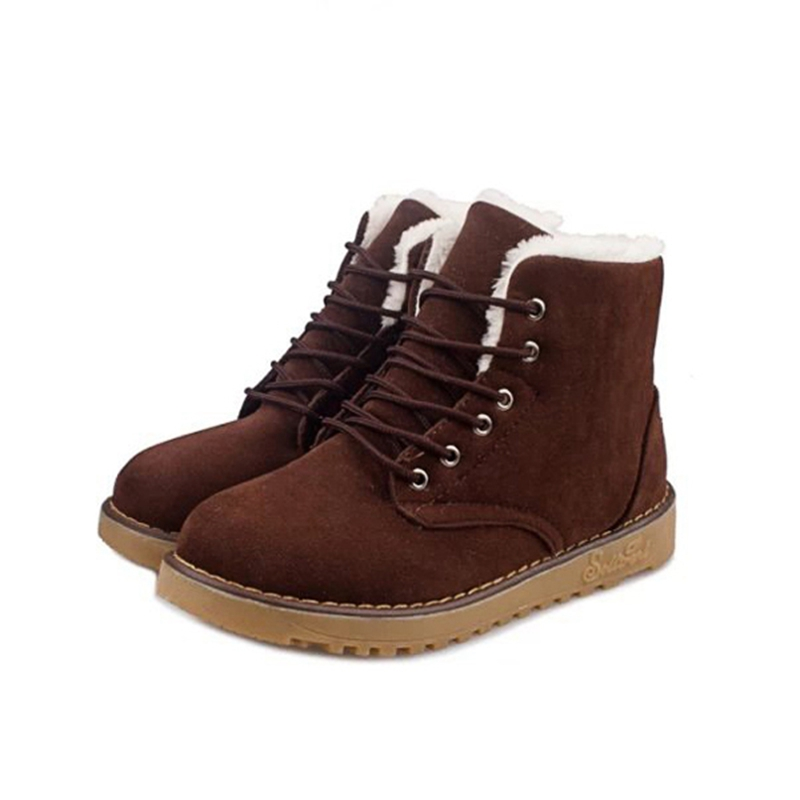 Autumn Winter Women Suede Snow Boots Warm Lace Up Ankle Boots Soft Short Plush Knigth Flat Ladies Woman Non-slip Shoes Botas ms autumn and winter snow boots warm comfortable wholesale women ladies casual shoes lace up martin boots popular dt548