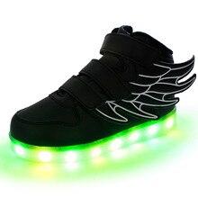 2016 dernière automne LED lumineux pour enfant enfants casual shoes rougeoyant usb de charge garçons et filles sneaker avec 7 couleurs light up nouveau