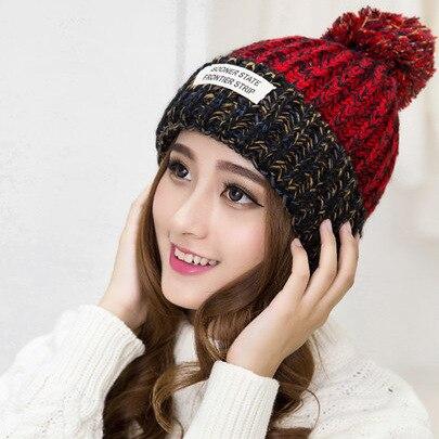 mujeres cap femme invierno pom pom gorros sombreros de punto de ganchillo sombrero caliente de