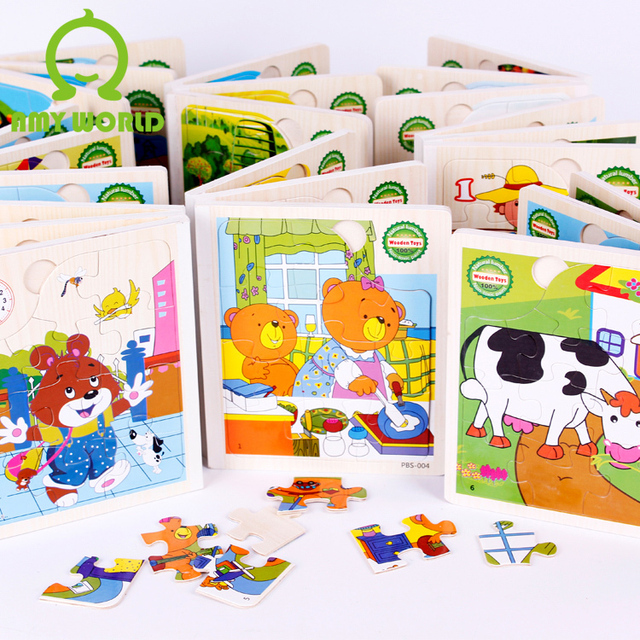 Animal cartoon wood books wooden puzzle toy three-dimensional puzzle wool
