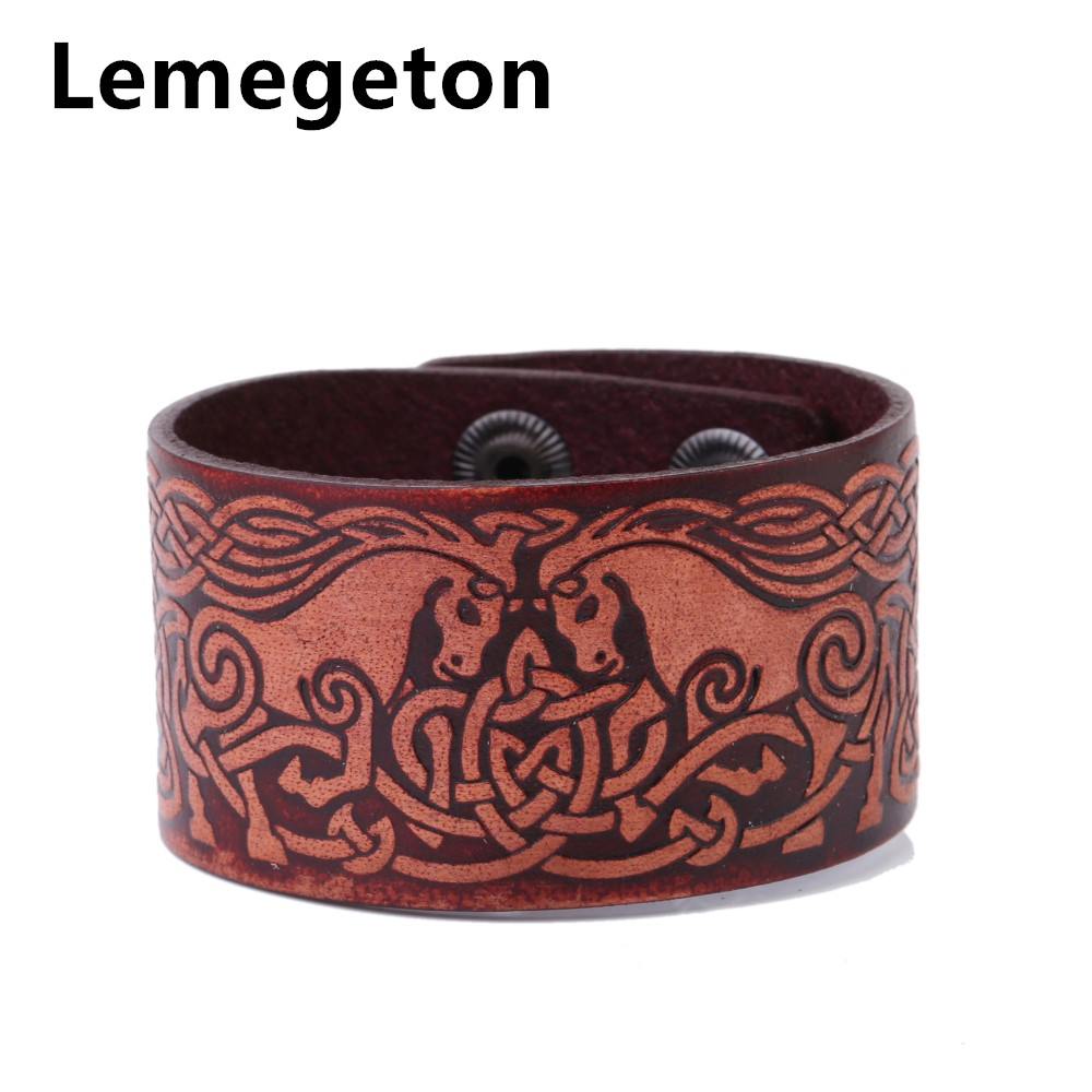 Lemegeton Red Double Horses Head To Head Mane Knot Leather Wide Cuff Men's  Bracelets Hidden Clasp Wicca Jewelry Accessories