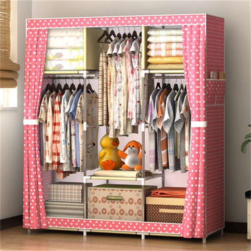 2019 NEW Non woven Wardrobe Closet Large And Medium sized Storage Cabinets Simple Folding Reinforcement Receive Stowed Clothes in Storage Holders Racks from Home Garden
