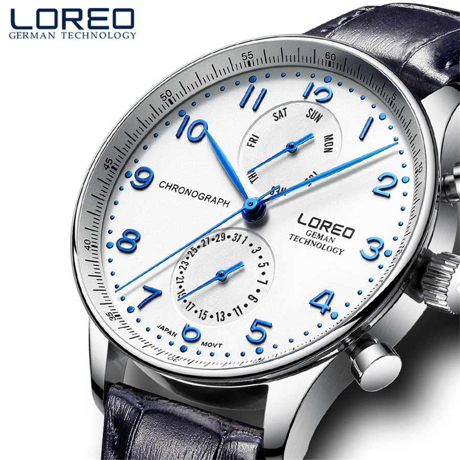 LOREO Mens Watches Brand Luxury Leather Casual Quartz Watch Men Military Sport Waterproof Clock Diving Watch