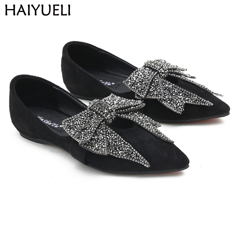 Ladies Shoes Fashion Rhinestone Bow Women Flats Spring Slip On Loafers Women Pointed Toe Flat Shoes Waman Black/Brown Flats odetina 2017 spring elegant driving shoes loafers women fashion pointed toe flats slip on boat shoes grandma casual flat shoes