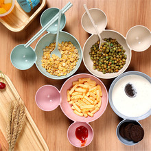 Creative Cartoon Cutlery Children Food Dishes Wheat Straw Baby Broken-resistant Bowl Dinnerware Set Dining Plate