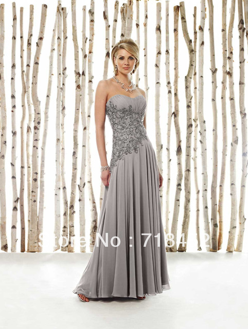 174a52d70b Hot Sale Grey Chiffon Mother of the Bride Dress Sweetheart Appliques Beaded  Free Shipping MD620