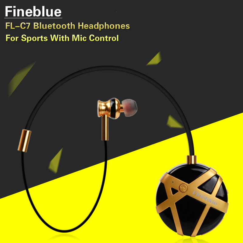 Fineblue FL-C7 Bluetooth Headphones Wireless Sports Stereo Noise Reduction In Ear Headset Handfree Earphones With Mic For Phones dental endodontic root canal endo motor wireless reciprocating 16 1 reduction