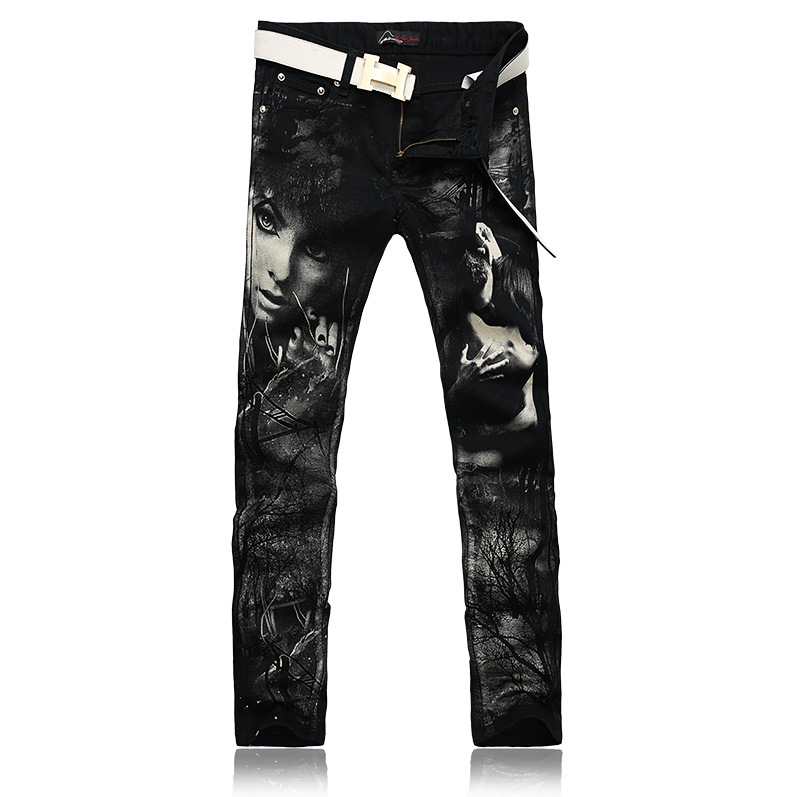ФОТО Individual Design Fashion Male Colored Drawing Straight Jeans Men's Denim Movie Characters Pattern Printed Jeans Free Shipping