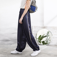 IRINAW096 Новое поступление 2018 оригинальный дизайн боковой полосой темно синий повседневные свободные длинные широкие брюки женская летняя об