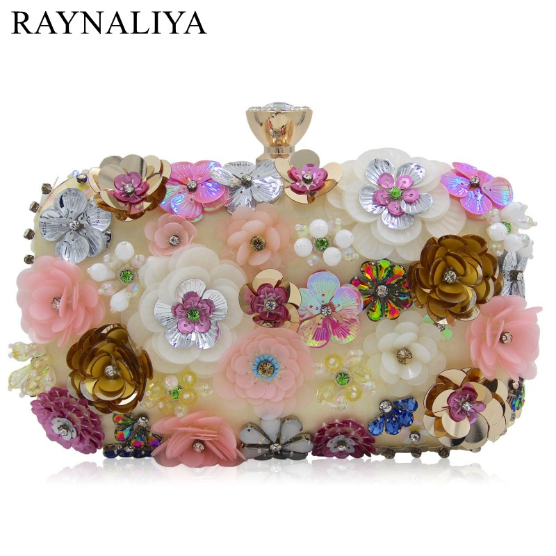 Flowers Clutch Bag Chain Evening Handbag Day Clutches Evening Bags Wedding Bridal Party Wallet Ladies Hand Bag SMYZH-E0150 new women s retro hand beaded evening bag wedding bridal handbag chain shoulder bag stitching sequins diamond stone day clutches