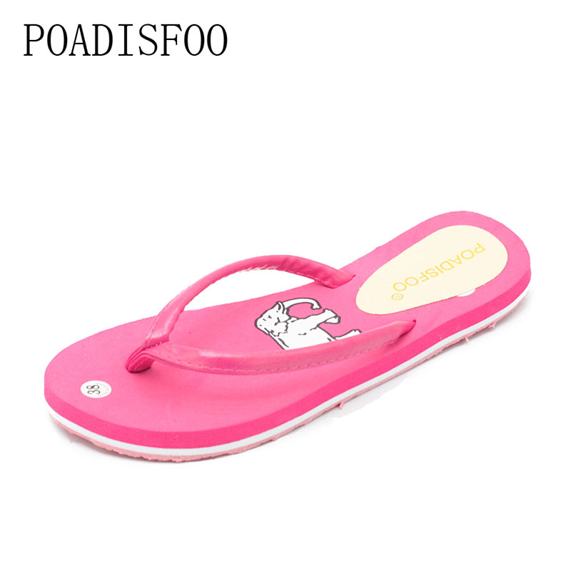 POADISFOO Women Beach shoes flip flops Wear shoes cartoon slipper for girls summer style slipper flat with .WNH-212 2016 soild women flip flops for summer outside slipper with cheap price and high quality for surprise gift xf 090