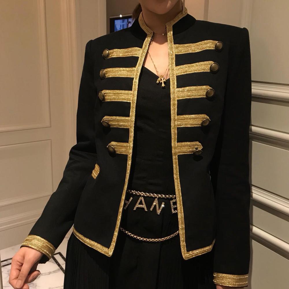 2019ss الفاخرة سترة النساء الذهبي التطريز سترة معطف rmsx 4.24-في السترات الأساسية من ملابس نسائية على  مجموعة 1