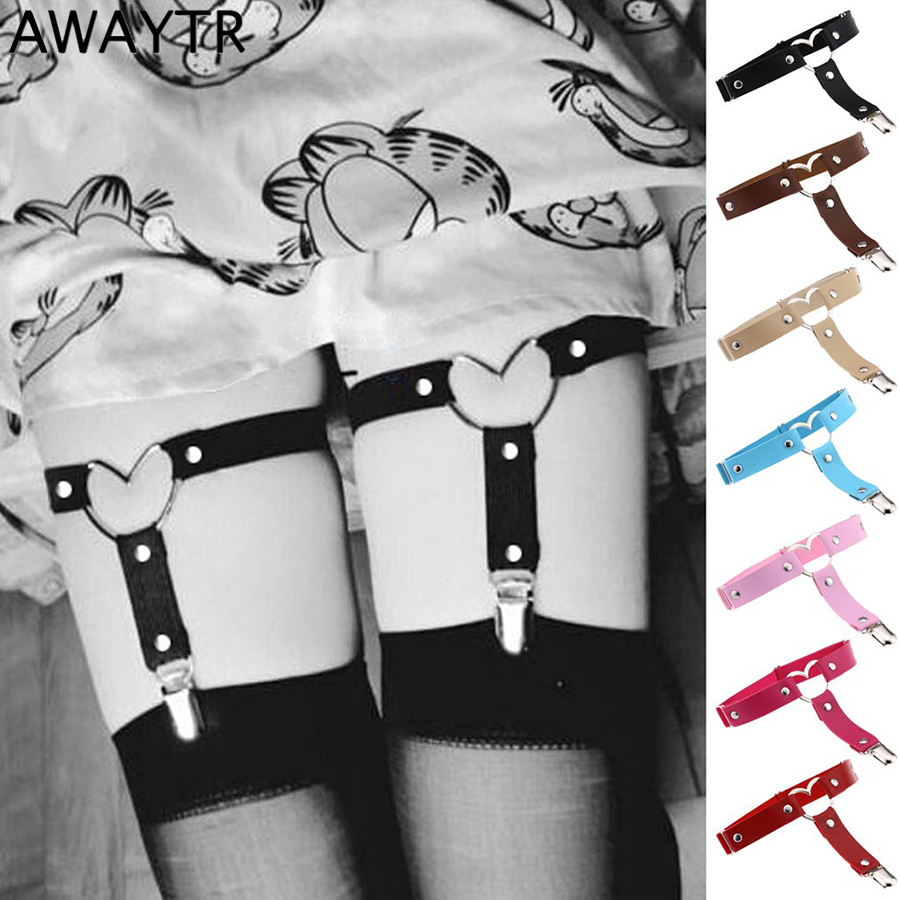 AWAYTR 1PCS Fashion Garter Belt For Women Heart Buckle Punk Style Faux Leather Sexy Elastic Tight Suspenders Female Black White