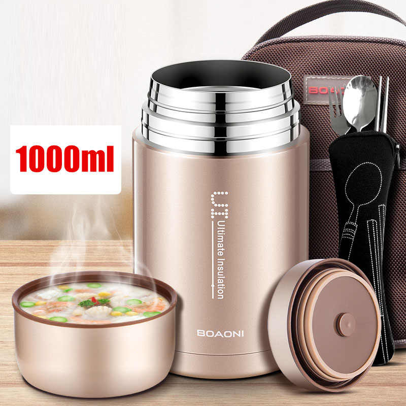 BOAONI 1000ml Thermos For Food With Containers Stainelss Steel Thermal Insulated Food Flask Soup Thermos Lunch Box For Kids