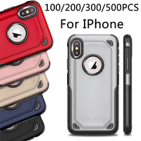 For iPhone X XR XS MAX 8 7 Plus S10 plus S7 edge S8 S9 2 in 1 Matte Shell Frosted Hybrid Armor Case Slim Back Cover 100/200pcs