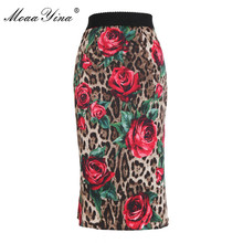 MoaaYina Leopard Rose Floral-Print Package buttocks Sexy Elegant Skirt high quality cotton