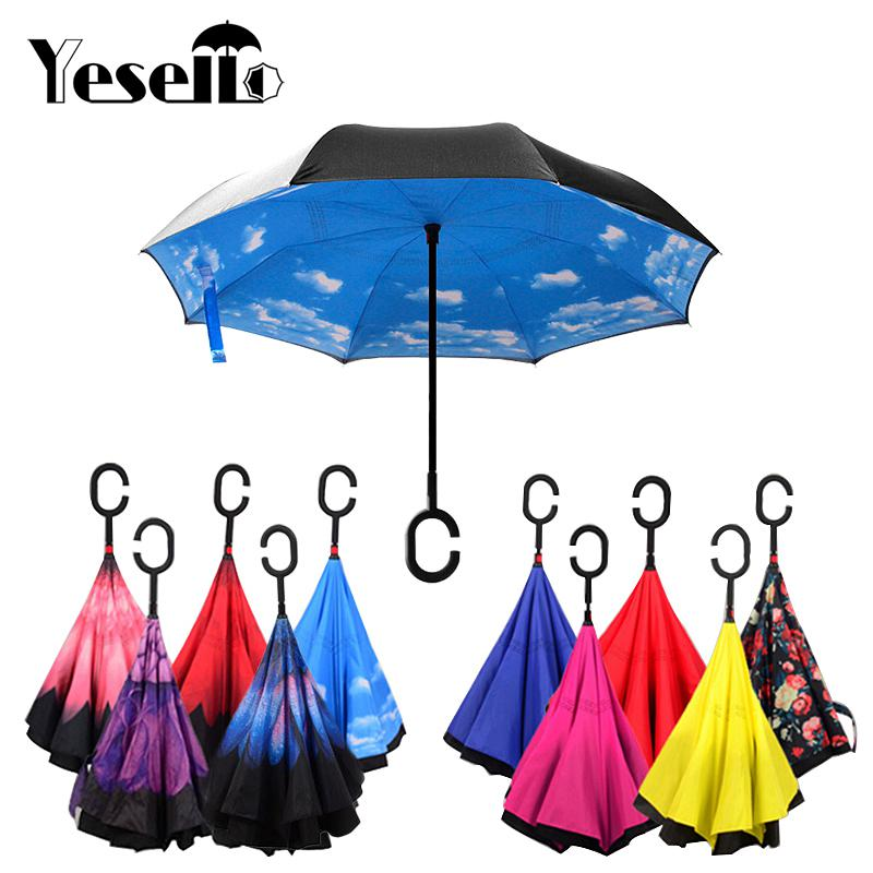 Double Layer Inside Out Folding Umbrella Upside Down Umbrellas with C-Shaped Handle for Women and Men Reverse Inverted Windproof Art Color Creative Umbrella Red Smoke Umbrella