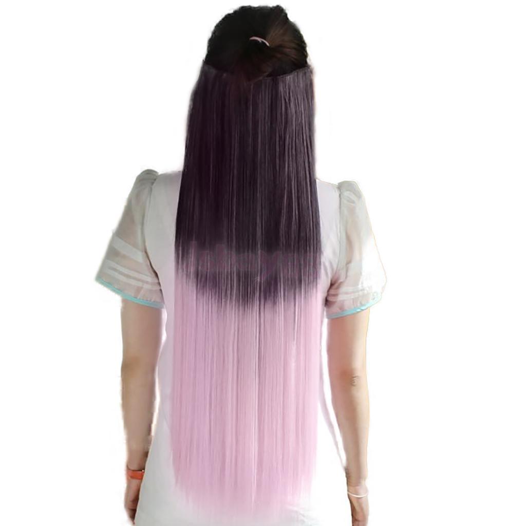 5 Зажимы градиент Цвет натурального синтетического Зажим в синтетических выдвижениях волос целую голову длинные прямые шиньоны Искусствен...