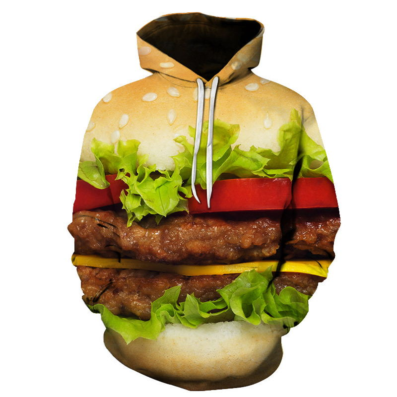 Burger Hoodie Hamburger 3D Print Sweatshirts Men Hip HOP Hoodies Outfits Coats Fashion Clothing Sweats Tops For Unisex S-6XL